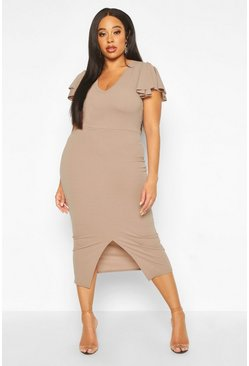 Mocha Plus Plunge Ruffle Split Front Midi Dress