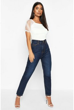 Womens Dark blue Petite High Rise Mom Jeans