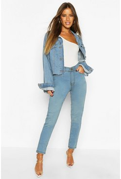 Blue Petite High Rise 5 Pocket Skinny Jeans