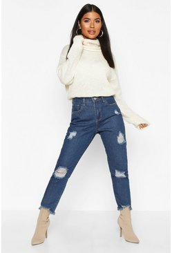Blue Petite Distressed Hem Straight Leg Jeans