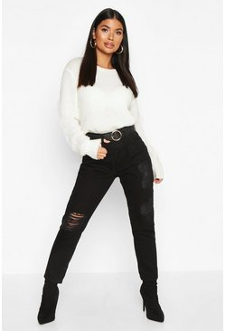 Womens Black Petite Distressed Boyfriend Jeans
