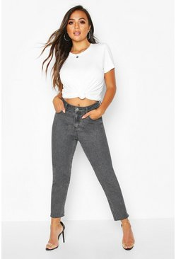 Petite Raw Hem Black Wash Mom Jeans