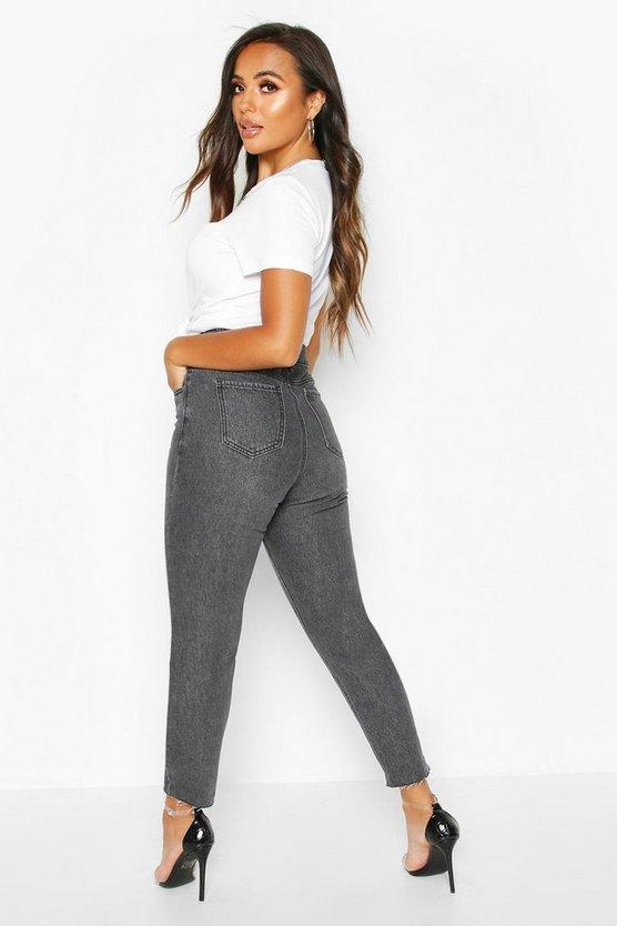 Petite Raw Hem Black Wash Mom Jeans