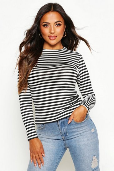 Womens Navy Petite Basic Crew Neck Stripe Long Sleeve T-Shirt