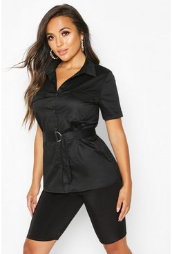 Dam Black Petite Oversized Belted Shirt