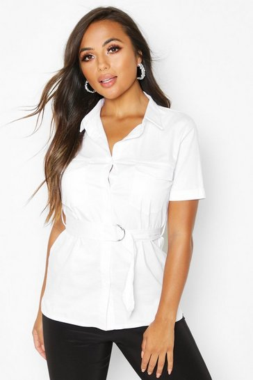 Womens White Petite Oversized Belted Shirt
