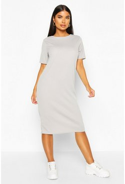 Grey marl Petite Rib Midi T-Shirt Dress