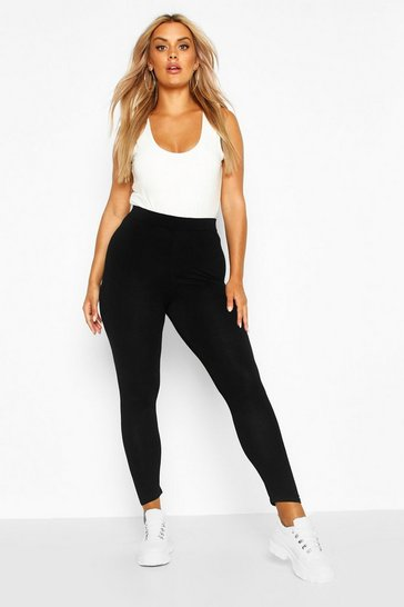 Womens Black Plus Basic Jersey Leggings