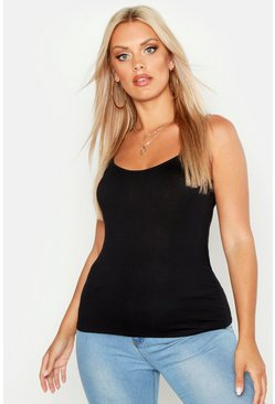 Womens Black Plus Basic Jersey Strappy Cami