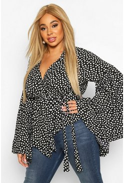 Dam Black Plus Smudge Spot Ruffle Wrap Blouse