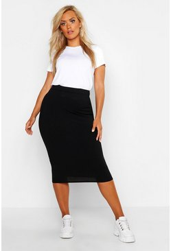 Womens Black Plus Rib Midi Skirt