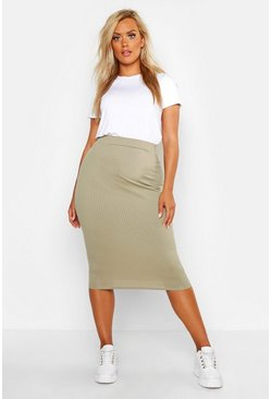Womens Khaki Plus Rib Midi Skirt