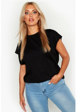 Black Plus Cotton Rib Neck Cap Sleeve T-Shirt
