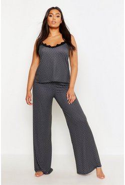 Womens Black Plus Polka Dot Lace Trim Cami PJ Set