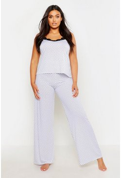 White Plus Polka Dot Lace Trim Cami PJ Set