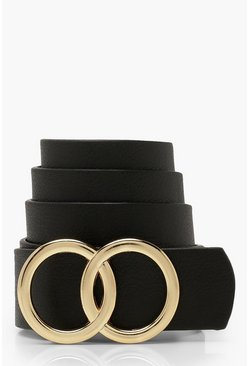 Womens Black Plus Double Ring Detail Boyfriend Belt