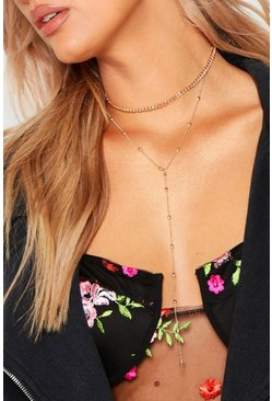 Womens Plus Gold Bali Chain Plunge Choker