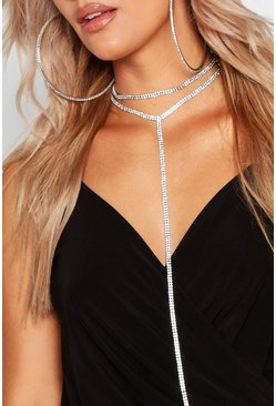 Womens Silver Plus Double Diamante Plunge Choker