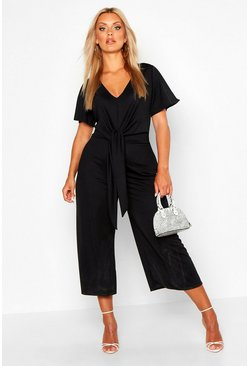Womens Black Plus Tie Front Angel Sleeve Culotte Jumpsuit
