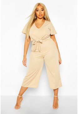 Womens Stone Plus Tie Front Angel Sleeve Culotte Jumpsuit