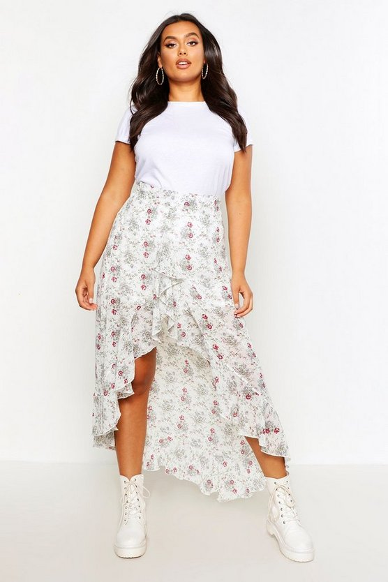 Plus Floral Print Ruffle Skirt Plus Floral Print Ruffle Skirt by Boohoo