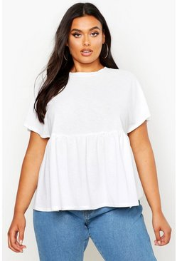 Womens White Plus Jersey Cheesecloth Smock Top