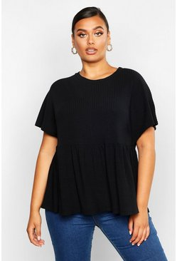 Womens Black Plus Super Soft Rib Smock Top