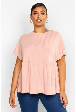 Top à smock côtelé Super Doux Plus, Blush