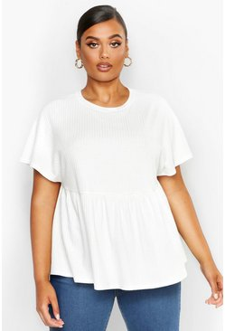 Womens White Plus Super Soft Rib Smock Top