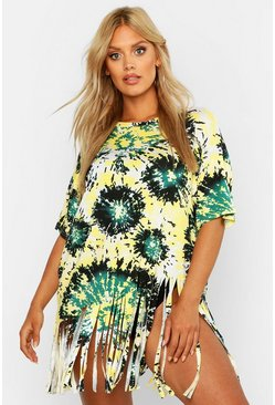 Womens Green Plus Tie Dye Tassel Beach Dress