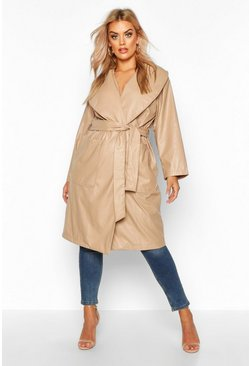 Dam Stone Plus PU Belted Wrap Coat