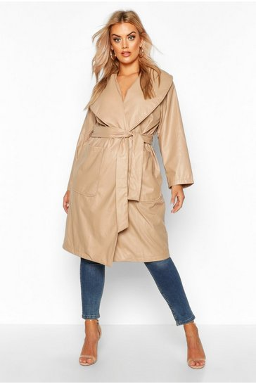 Womens Stone Plus PU Belted Wrap Coat