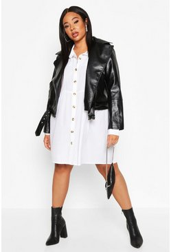 Womens Black Plus Pu Biker Jacket