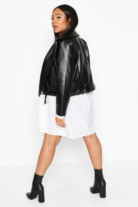 Plus Pu Biker Jacket