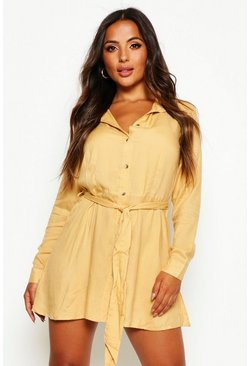 Womens Camel Petite Woven Long Sleeve Utility Shirt Dress