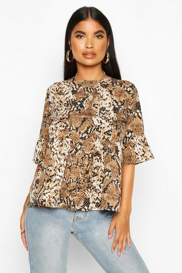 Womens Stone Petite Woven Snake Print Frill Sleeve Smock Top