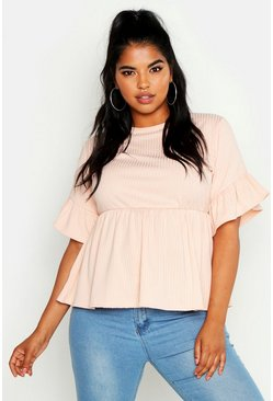 Blush Plus Rib Frill Sleeve Smock Top