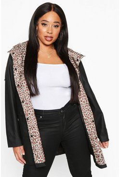 Womens Black Plus Leopard Lined Rain Mac