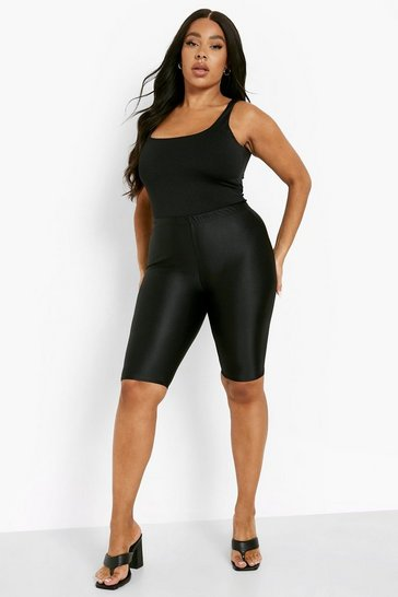 Womens Black Plus Extra Thick Longline Cycling Shorts