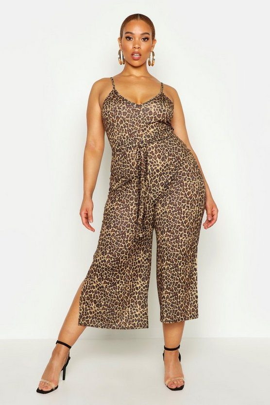 Womens Brown Plus Leopard Print Self Belt Culotte Jumpsuit