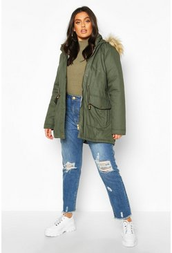 Womens Khaki Plus Parka Coat With Faux Fur Trim