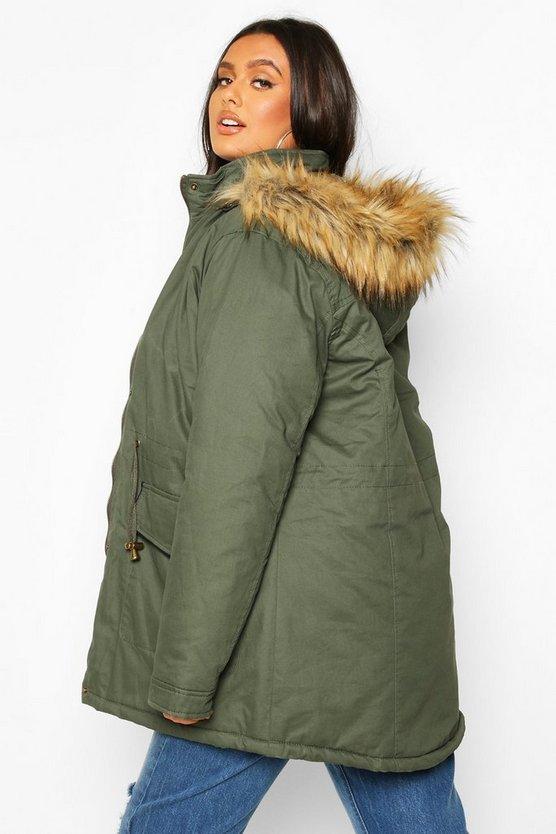 Plus Parka Coat With Faux Fur Trim