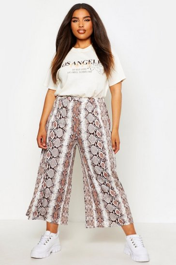 Womens Brown Plus Snake Print Wide Leg Culotte