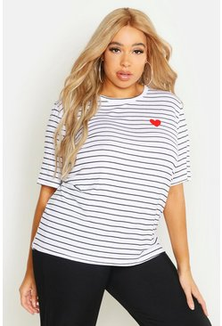 Womens White Plus Heart Pocket Print Stripe T-Shirt
