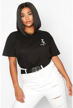 Dam Black Plus Stay Wild Rose Pocket Print T-Shirt