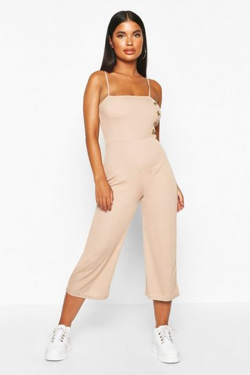 Womens Stone Petite Strappy Mock Horn Button Culotte Jumpsuit