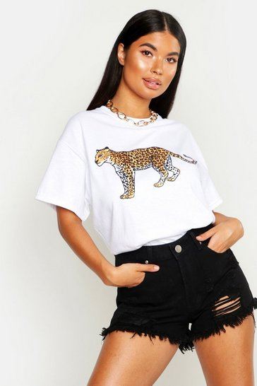 Womens White Petite Leopard Oversized T-Shirt