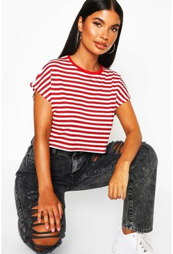 Womens Red Petite Striped Crop Ringer T-Shirt