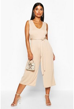 Womens Camel Petite Basic Rib Plunge Belted Culotte Jumpsuit