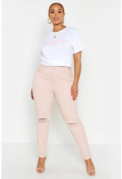Plus Mom-Jeans mit Rissen am Knie, Rosa, Damen